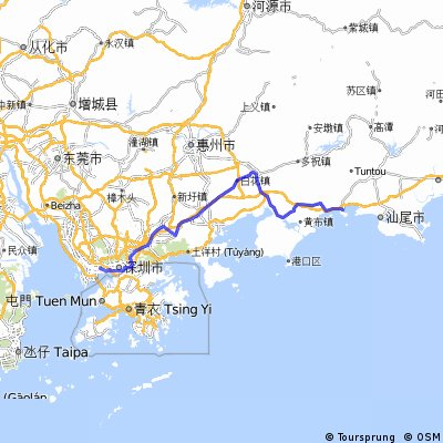世界之窗→红海湾(汕尾) 骑车去冲浪 CLONED FROM ROUTE 1014105