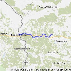 Frankfurt /O nach Lagowek, gefahrene Route