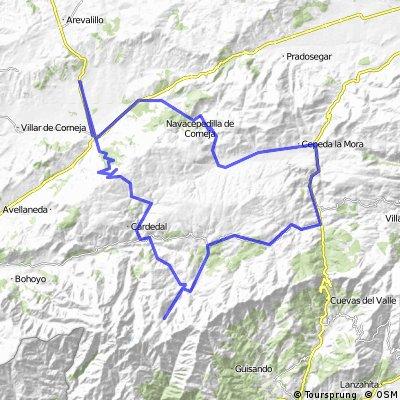 Malpartida de Corneja-Piedrahita-Chía-Cepeda la Mora-Hoyos del Espino-Plataforma de Gredos-Navacepeda de Tormes-Peña Negra-Malpartida de Corneja