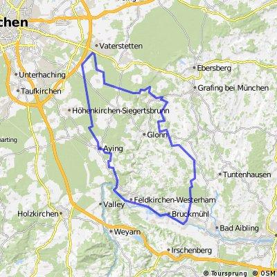 Tour über Falkenberg, Sempt-Mangfall-Radweg, München-Mangfall-Radweg