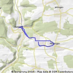 Mötzingen nach Nagold über Industriegebiet Wolfsberg