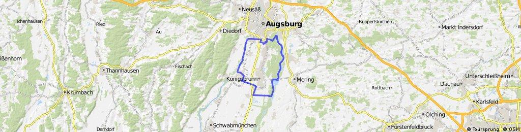 Uni-Viertel - Wertach - Bobingen - Auensee - Mandichosee - Hochablaß - Uni-Viertel
