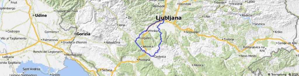 Ljubljana-Lokatec-Planina-Cerknica-Rakitna-Ljubljana