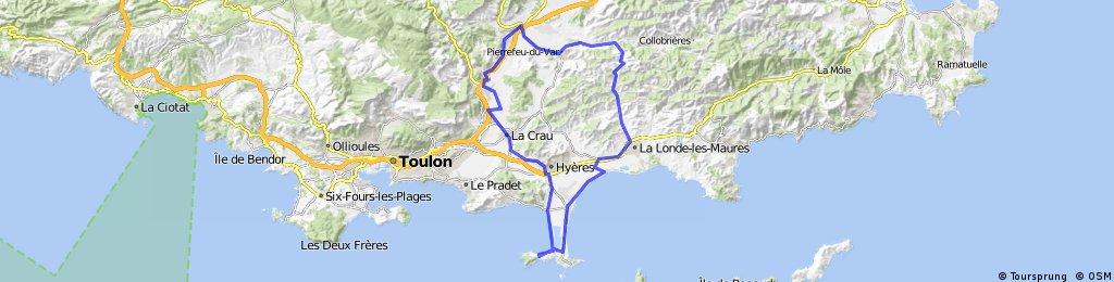 Giens - La Londe - Pierrefeu - Cuers - La Crau - Hyères - Giens