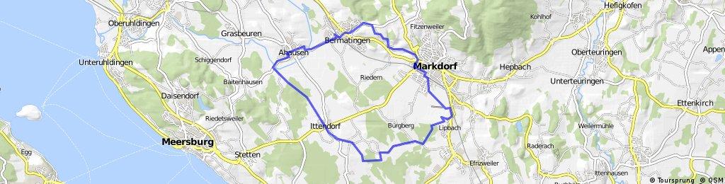 Rundfahrt von Bermatingen über Ahausen, Ittendorf, Leihwiesen, Lipbach, Markdorf und Wangen mit Steigungen