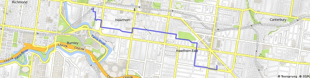 Quiet route from Hawthorn Station to City of Boroondara council offices