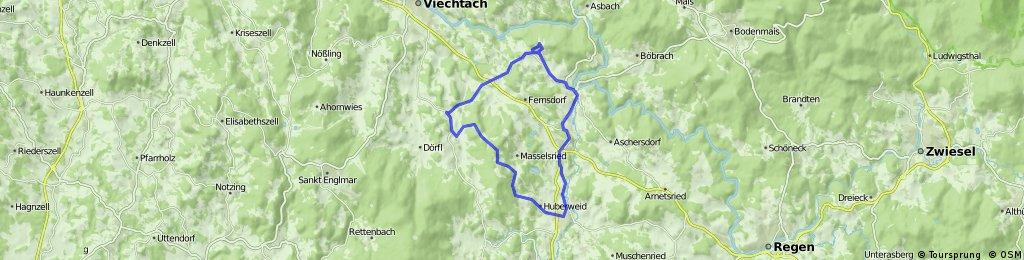 Knabenhof - Burg-Ruine Altnußberg -Teisnach - Patersdorf - Ruhmannsfelden - Knabenhof