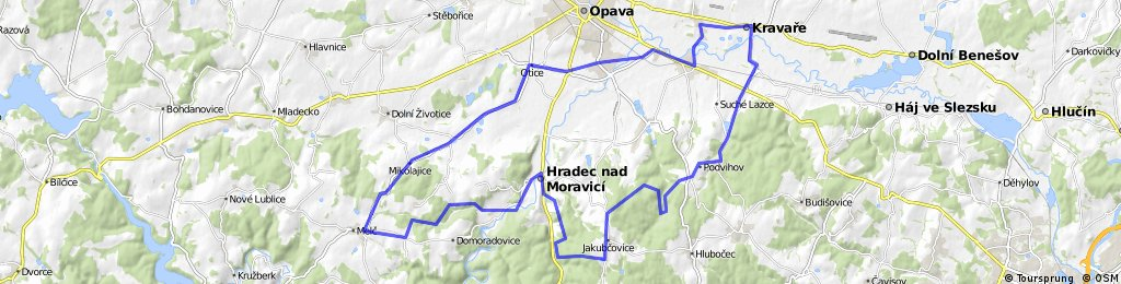 Kravaře-Podvihov-Hradec-Melč-Opava