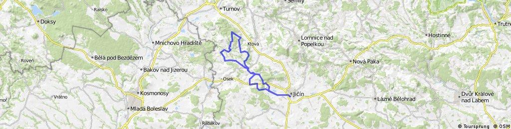 Jičín - Mladějov - Hrubá Skála - Troskovice - Mladějov - Samšina - Jičín