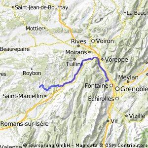 Grenoble Chevrière par la piste cyclable