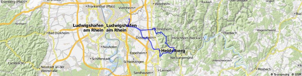 Mannheim - Ilvesheim - Ladenburg - Schriesheim - Weißer Stein - Ziegelhausen - Schlierbach - Königsstuhl - Ehrenfriedhof - Heidelberg - Schriesheim - Ladenburg - Ilvesheim - Mannheim