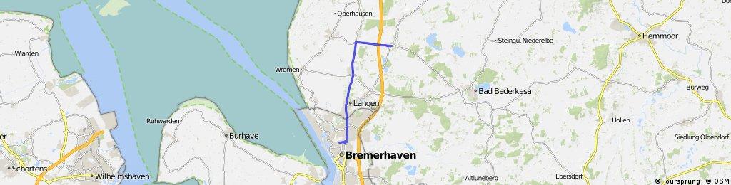 Strecke von Bremerhaven nach Neuenwalde