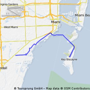 Out and back to Key Biscayne from South Miami