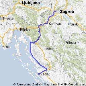 Zagreb Zadar Via Pag Bikemap Your Bike Routes