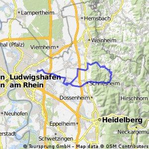 Mannheim -Feudenheim -Ladenburg - Rippenweier - Schriesheim - Mannheim3465