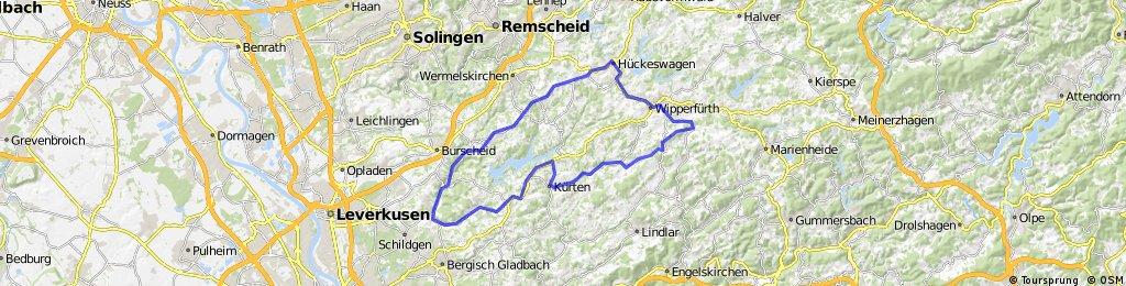 Bergische Kaffeefahrt Tour 1 72 km