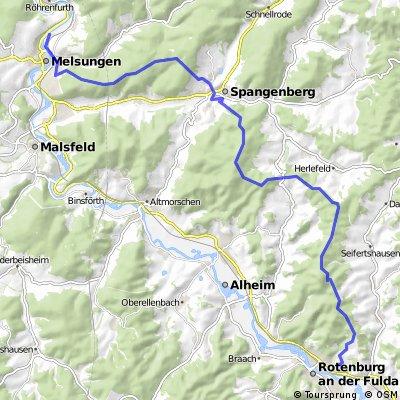 MTB-Strecke Melsungen nach Rotenburg durch den Wald