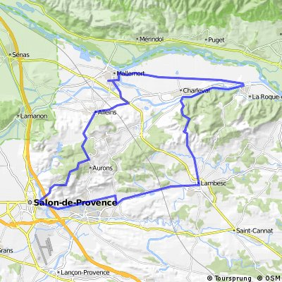 Mallemort-La Roque-Col de Ceze-Lambesc-Pelissane-Salon-Val de Cuech-Alleins-Mallemort