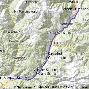 ciclopista del sole tratto bressanone/ bolzano