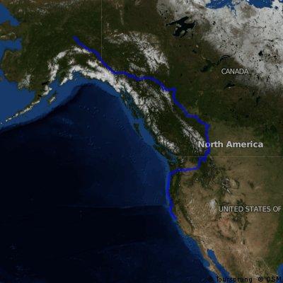 Fairbanks, AK, to San Francisco Ferry Building (Plan)