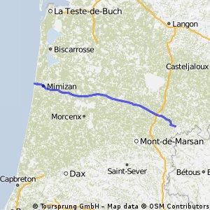 9. Etappe Saint-Justin - Mimizan-Plage