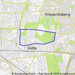 Valby Bakke op og ned 4 km.