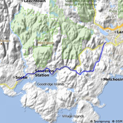 Sooke to Westshore and Victoria; fast route