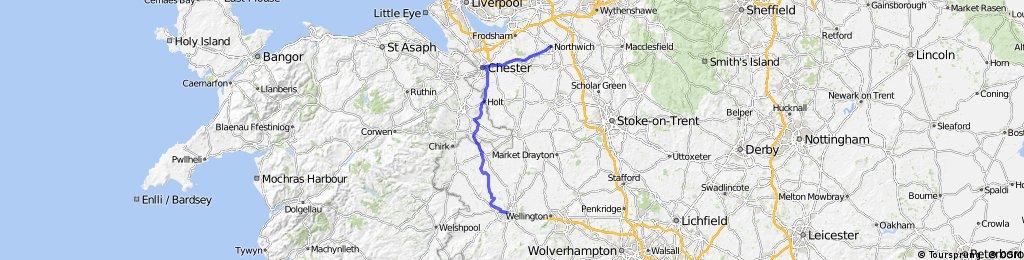 LEJOG Day 6 - Shrewsbury to Northwich | Bikemap - Deine ...