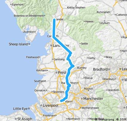 LEJOG Day 7  - Newton le Willows to Kendal 76 miles