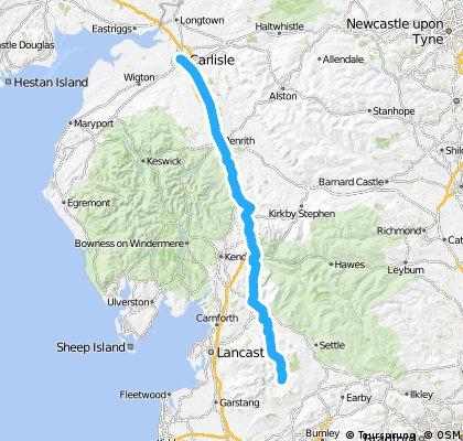 LEJOG Day 8 - Slaidburn YH to CarlisleYH CLONED FROM ROUTE 380923