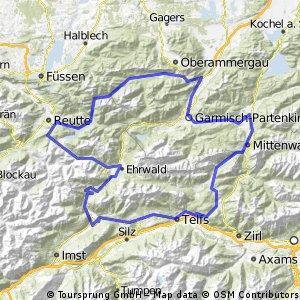 Oberau - Plansee - Lermoos - Ehrwald - Fernpass 1212m - Telfs - Seefeld i. Tirol - Leutasch - Mittenwald - Garmisch Partenkirchen - Oberau CLONED FROM ROUTE 850