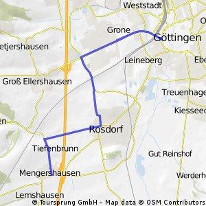 Strecke zwischen Mengershausen und Göttingen