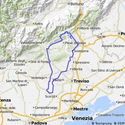 Trebaseleghe-Conegliano-Le mire-Arfanta-Vidor-Montebelluna-Trebaseleghe