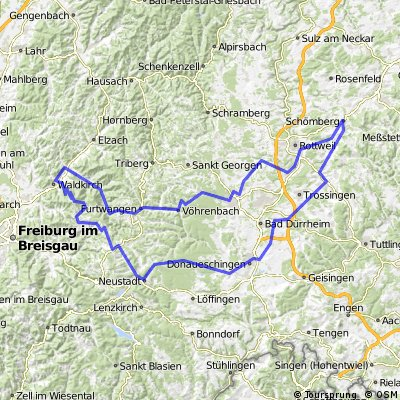 Schömberg-Villingen Furtwangen- Simonswald- Waldkirch-Kandel- Thurner-Joostal-Neustadt-Bräunlingen-Donaueschingen-Trossingen-Frittlingen-Schömberg