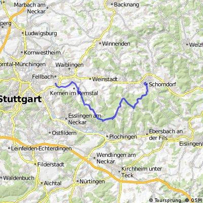 Von Schorndorf über den Schurwald nach Fellbach