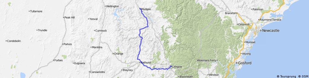 Lithgow to Mudgee via Bathurst