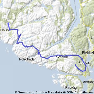 Cycling routes and bike maps in and around Flekkefjord Bikemap