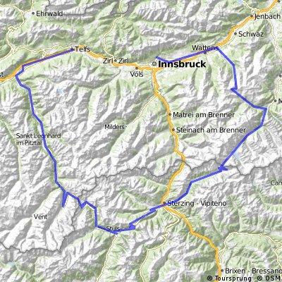 Innsbruck-Pfitscherjoch-Jaufenpass-Timmelsjoch-Telfs