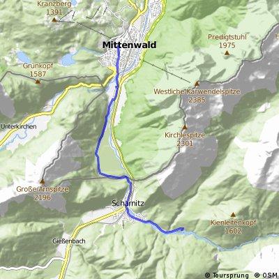 Mittenwald (D) - Riedboden (D/A) - Scharnitz(A) - Wiesenhof(A)