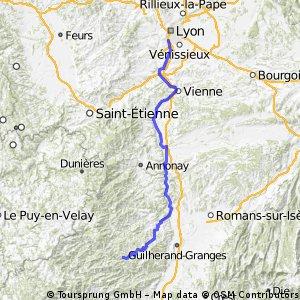 11-08-11 ERT-5.Etappe: Lyon-(Rhone-Radweg)- Tournon-sur-Rhone - Vernoux-en-Vivarais -Chalencon
