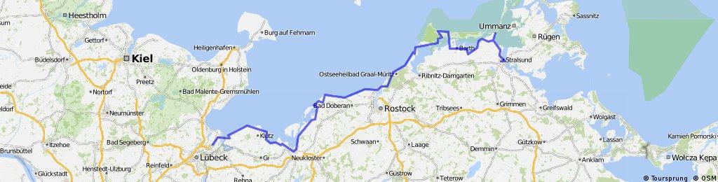 Ostseeradweg Lübeck Stralsund Karte.Ostsee Radweg Lübeck Kücknitz Stralsund Bikemap Deine Radrouten