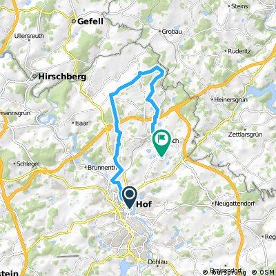 ADFC-Hof: Feierabendtour (mittlere Strecke) Von Hof über Zedtwitz, Hohendorf, Feriensiedlung Kreuzlein und Unterhartmannsreuth mit Endstation in Trogen.