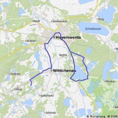 Leichte Route um Hoyerswerda Richtung Knappensee