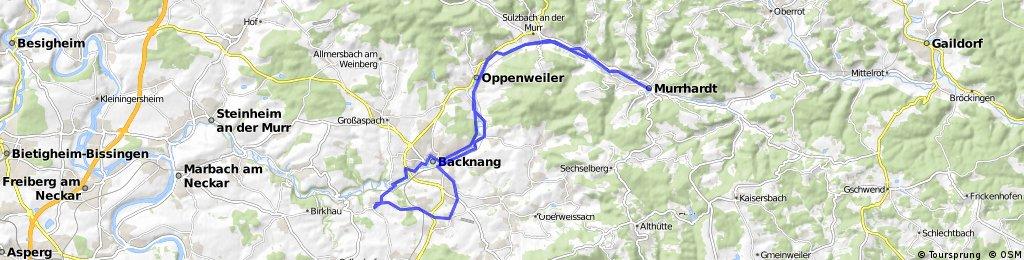 Burgstetten-Erbstetten, Backnang, Sulzbach/Murr, Murrhardt und zurück