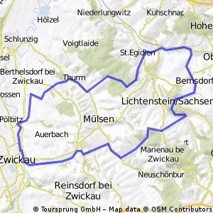 Von Zwickau aus rund um Lichtenstein Bikemap Your bike routes