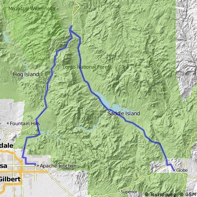 Globe to Apache Junction via Apache Trail