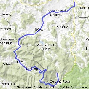 Špičák - B. Eisenstein - Hindenburgkanzel - Scheiben - Svaroh - Lam - Rittsteig - Nýrsko - Janovice - Týnec - Luby