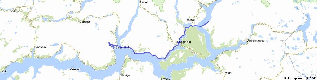Noorwegen trip route 5: Balestrand - Lustrafjorden