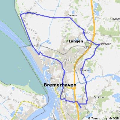 50,6km Nordwestwindroute- Spaden-Debstedt-Sievern-Wremen-Weddewarden-Brhv