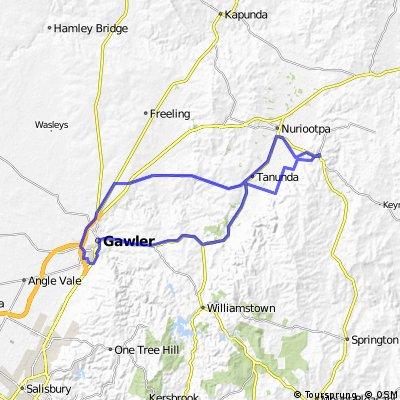 Gawler Wheelers-ROUTE32C-Gawler-Gomersal-Tanunda-Angaston-Bethany-Lyndoch-Gawler-UNDULATING